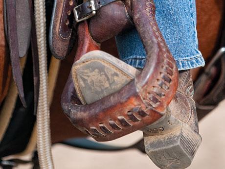 proper foot position in stirrup heel down