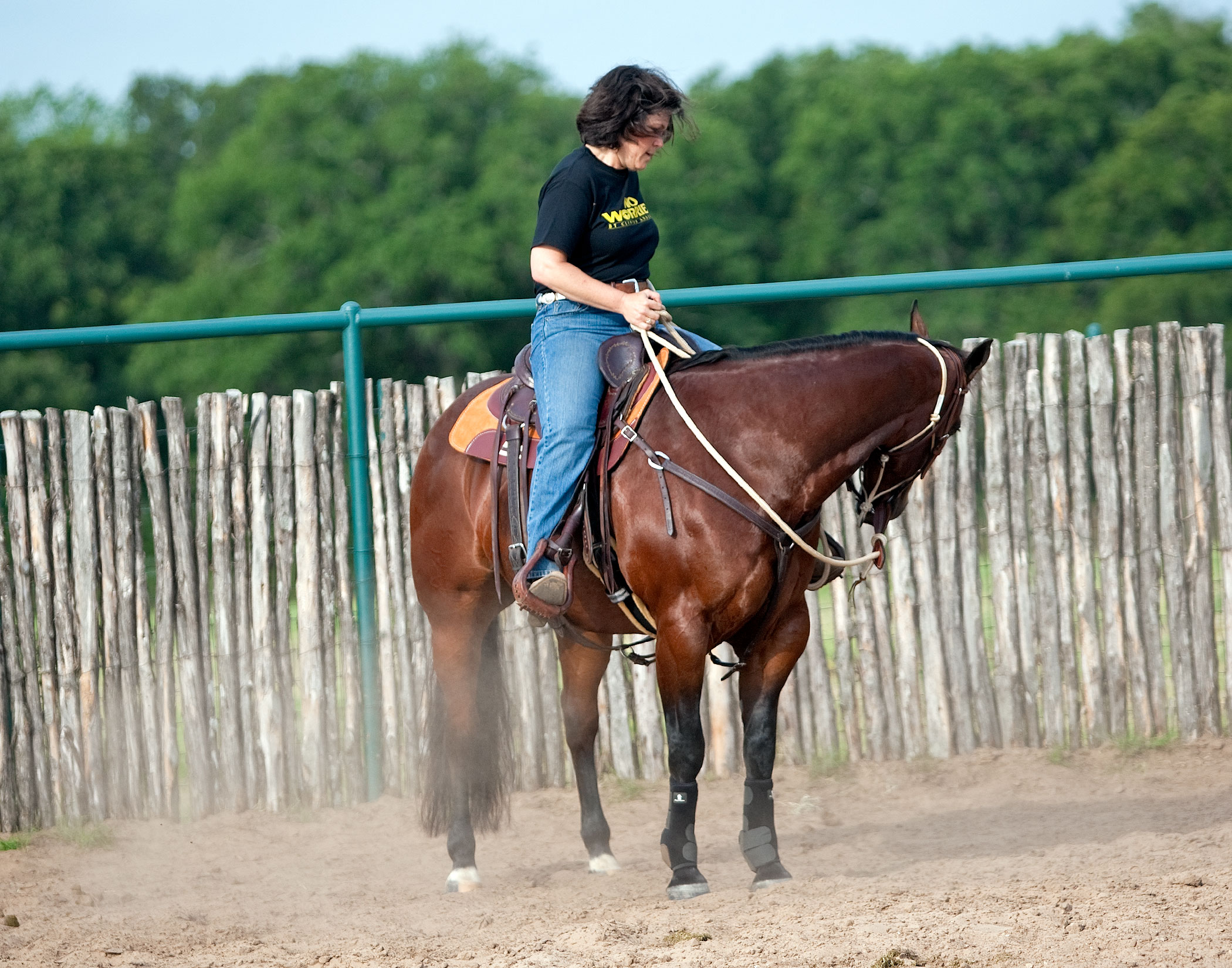Touch horse's nose to stirrup or boot.